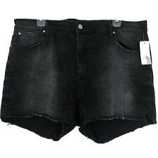 NWT BP womans size 34 high rise black cut off fringe summer denim stretch shorts