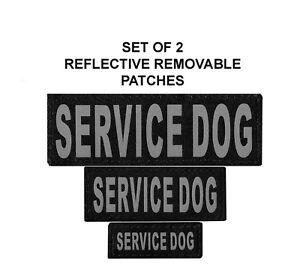 Doggie Stylz Set of 2 Reflective SERVICE DOG Removable Dog Patches Hook Backing