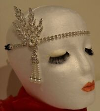 1920's Head Flapper Peaky Blinders Great Gatsby Style Silver Medallion & Pearl