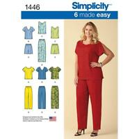 SIMPLICITY SEWING PATTERN 1446 WOMENS 18W-24W EASY TOPS PANTS SHORTS, PLUS SIZES