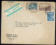 A-1295*ARGENTINA 1952  AIR MAIL ADVERTISING COVER* BUENOS AIRES TO NEW YORK, NY