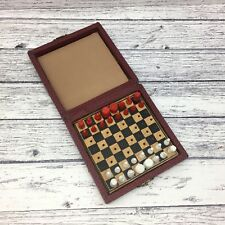Vintage Leather Feel Travel Chess Set Peg - Complete