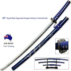 "40"" Royal Blue Engraved Dragon Japanese Samurai Katana 3 Swords Set w/Free Stand"