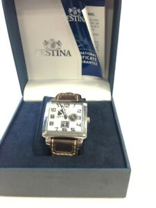 Festina Wristwatch Square Face Watch Brown Band Male Unisex Watch #328