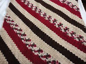 Beige Brown Dark Raspberry lap blanket throw afghan handmade