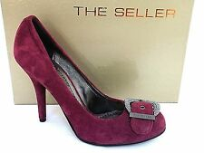 THE SELLER LADIES CIPRO PLUM SUEDE LEATHER HEELS COURT SHOES WOMENS UK 6 -EUR 39