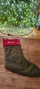 """Pottery Barn Velvet Christmas Stocking Green Red """" Karen """" 22"""""""