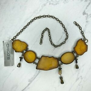 Chico's Gold Tone Chunky Quartz Belly Body Chain Link Belt Size Small S Medium