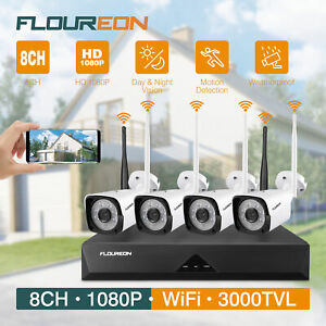 SALE! 8CH 1080P HD WLAN Überwachungskamera Set WiFi NVR 4x Außen IP Kamera DE