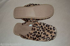 Womens BROWN LEOPARD PRINT FUZZY SLIPPERS In / Outdoor RUBBER SOLE Cushion S 5-6