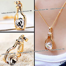 Crystal Heart Bottle Necklace Love Girl Xmas Gift For Her Wife Girlfriend Women