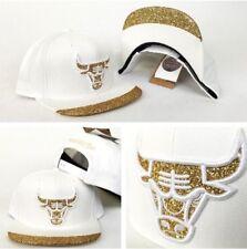 Mitchell & Ness NBA WHITE Chicago Bulls Gold Glitter Logo snapback Hat Cap