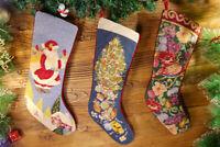 Floral Handmade Needlepoint Christmas Stocking Decorated Xmas Tree Santa Clause