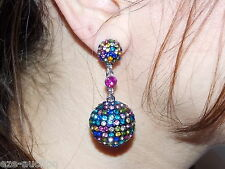 Museum Madness Multi-Colored Rhinestones Drop Prom Earrings