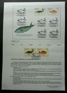 [SJ] Portugal Fish Marine Species Of Wood 1986 Ocean Life (stamp on info sheet)