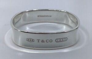 Tiffany & Co Sterling Silver Wide 1837 Square Bangle Bracelet