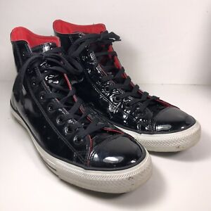 Converse All Star Chuck Taylor Black Patent Leather High Top Shoes 111131 Sz 11