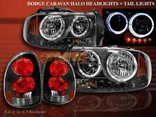 1998-2003 Dodge Durango Twin Halo LED Black Headlights+Tail Lights Black