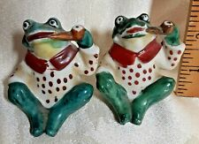 Salt & Pepper Shakers ANTHROPOMORPHIC FROGS Smoking Pipes Cork Stoppers Japan