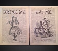 2x Alice In Wonderland Quotes Eat Me Vintage Dictionary Wall Art Pictures Prints