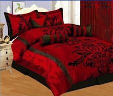 7Pc Full Size Modern Burgundy Red Black Flock Satin Comforter Set Bed in A Bag