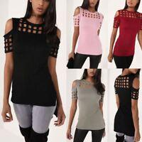 Women Cut Out Shoulder Casual Dip Hem Summer Top T-shirt UK