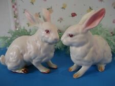 2 Vtg Lefton Bunny Rabbit Figurines~ H880~pink ears,red eyes~beautiful quality