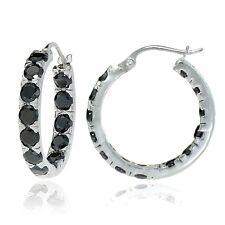 Sterling Silver Black Cubic Zirconia Inside Out 3x25 mm Round Hoop Earrings