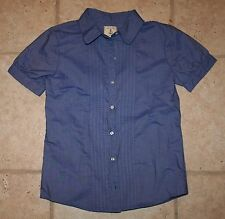 NWOT Lands' End Girls Size 10 SS Blue Button Front Puffy Sleeve Top