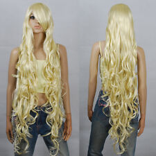 120cm Blonde Extra Long Curly Cosplay Wigs Seamlessly Contours 3A_613