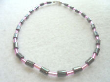 Ankle Bracelet Black Hematite Non Magnetic Fuschia Bugle Beads Pink and Black