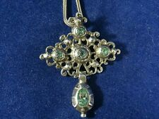 Stunning 18th Century Solid Silver and Paste Closed Back Pendant & Chain