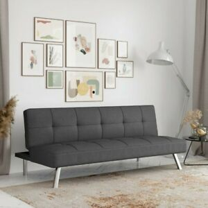 Charcoal Twin 66.1'' Wide Tufted Back Convertible Futon Sofa Bed