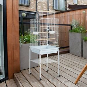 136cm Play Top Parrot Cage with Stand Metal Bird Cage for Budgie Canary White