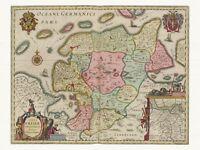 Alte Ostfriesland Deutschland Landkarte Blaeu ca. 1655 Papier Leinwand