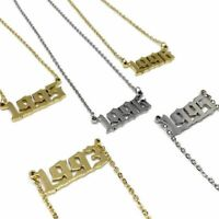 Old English Birth Year Date Gold / Silver Necklace l FREE UK Postage l Number
