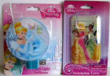 NEW Disney Princess Cinderella & Princess  Night Light & Switch Plate Cover Set