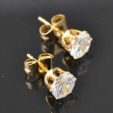 Round Cut Clear CZ 14k Yellow Gold Filled Butterfly Back Stud Earrings 6mm