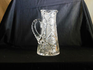 Antique American Brilliant Cut Art Glass Pitcher