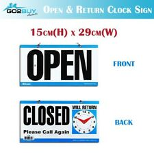 Open - Closed Will Return Sign Business Shop Door Restaurant Hand Crafted Clock