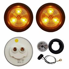 "2 PACK of CLEAR/AMBER LED 2"" ROUND CLEARANCE/MARKER LIGHTS TRAILER RV FREE SHIP"