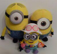 Despicable Me Plush Minions Lot Of 3 Stuart and Jerry Stuffed Toys. L