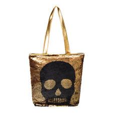 Gold Black Skull Sequin Bag Tote Bag  Shopper