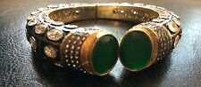 18k on4k Real Gold Victorian Jade Pave Bracelet Bangle Kada RedCarpet Oscars CC