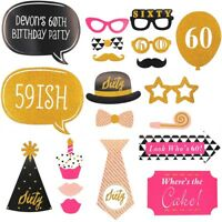20 X 60th Large Photo Booth Props Moustache Birthday Party Favour Kit DIY