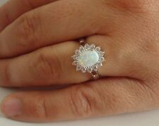 OVAL HALO RING W/ 1.50 CT OPAL & ACCENTS / SZ 5 -9 / 925 STERLING SILVER