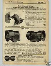 1930 PAPER AD Federal System Electric Siren Double Head Farm Bell Fire Alarm