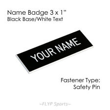 "Name Badge Tag Plate Black/White Safety Pin 3x1"" Personalised Engraved Custom..."