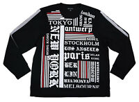 INC It List Freestyle Crew Neck World Cities Sweatshirt XXX-Large 3XL Black NWT