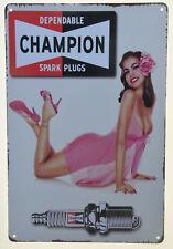 "Champion Spark Plug Girl Lingerie Retro Garage Mechanic Metal Tin Sign 8x12"" NEW"
